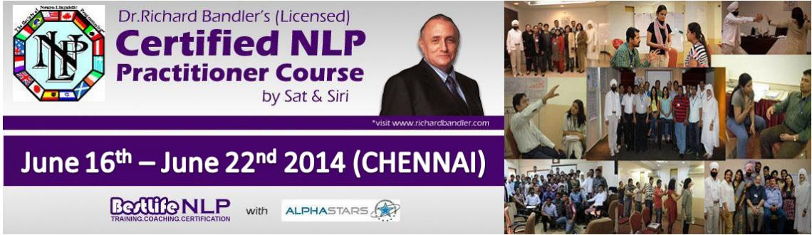 Book Online Tickets for Dr. Richard Bandler 7 Days NLP Practitio, NewDelhi. Neuro Linguistic Programming (NLP) is becoming consciously aware of programs and patterns the way they naturally function in your Whole Brain-Neurology. Some of the useful Patterns lead you to success. Capturing these pieces, de-coding, mod