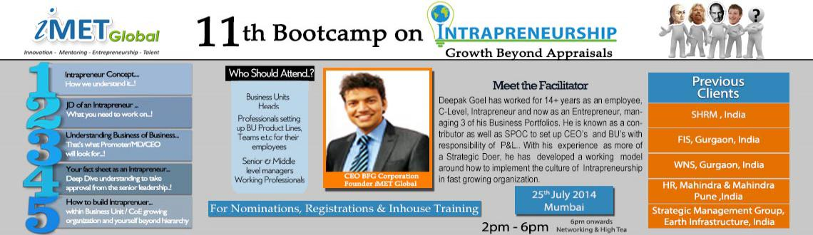 Book Online Tickets for IMET 11th Intrapreneurship Bootcamp @ Mu, Mumbai. From iMET Global Desk