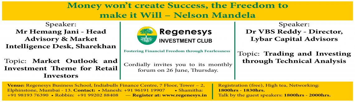Book Online Tickets for Regenesys Investment Club meet, Mumbai.