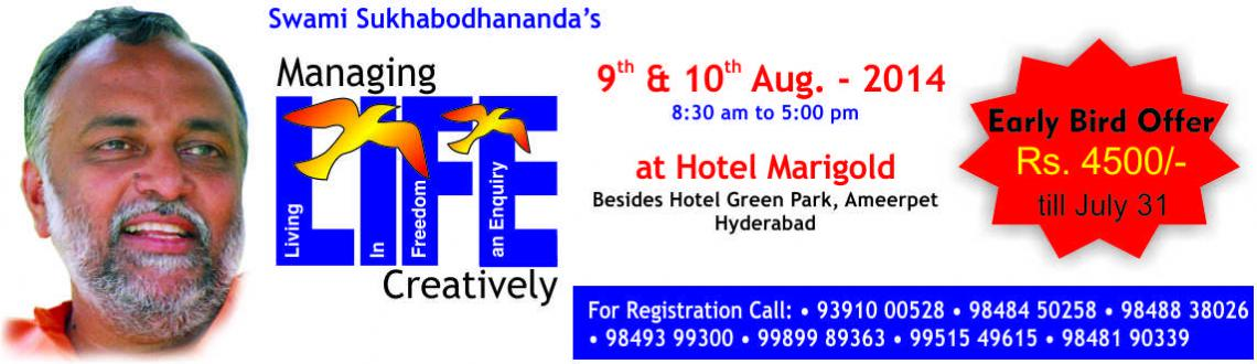 Book Online Tickets for Managing LIFE Creatively - Workshop by S, Hyderabad. Dear Friends,We have the pleasure in introducing you to a unique two-day experience of enriching all round development of yourself.Over the years, people in thousands from all walks of lives have been benefited from Managing LIFE Creatively, a two-da