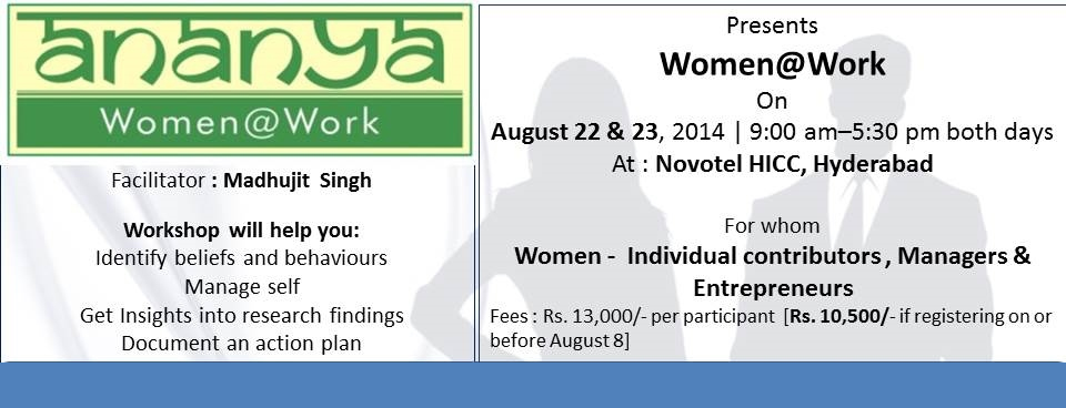 Ananya presents Women@Work - workshop for women professionals