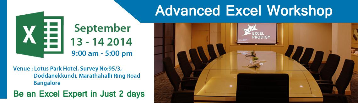 Advanced Excel Training in Bangalore @ Hotel Lotus Park Marathahalli.