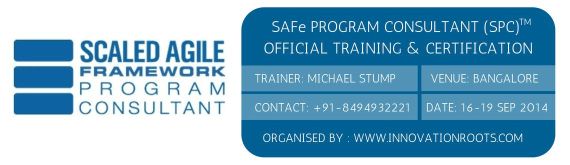 Book Online Tickets for SPC ( SAFe Program Consultant )  , Bengaluru. INNOVATION ROOTS  is global provider of SAFe Program Consultant (SPC)™ Training & Certification class in partnership with Scaled Agile Academy certified SPCTs.