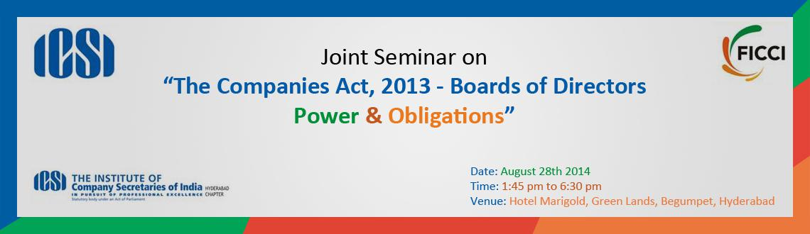 Book Online Tickets for  Joint Seminar on The Companies Act 2013, Hyderabad.