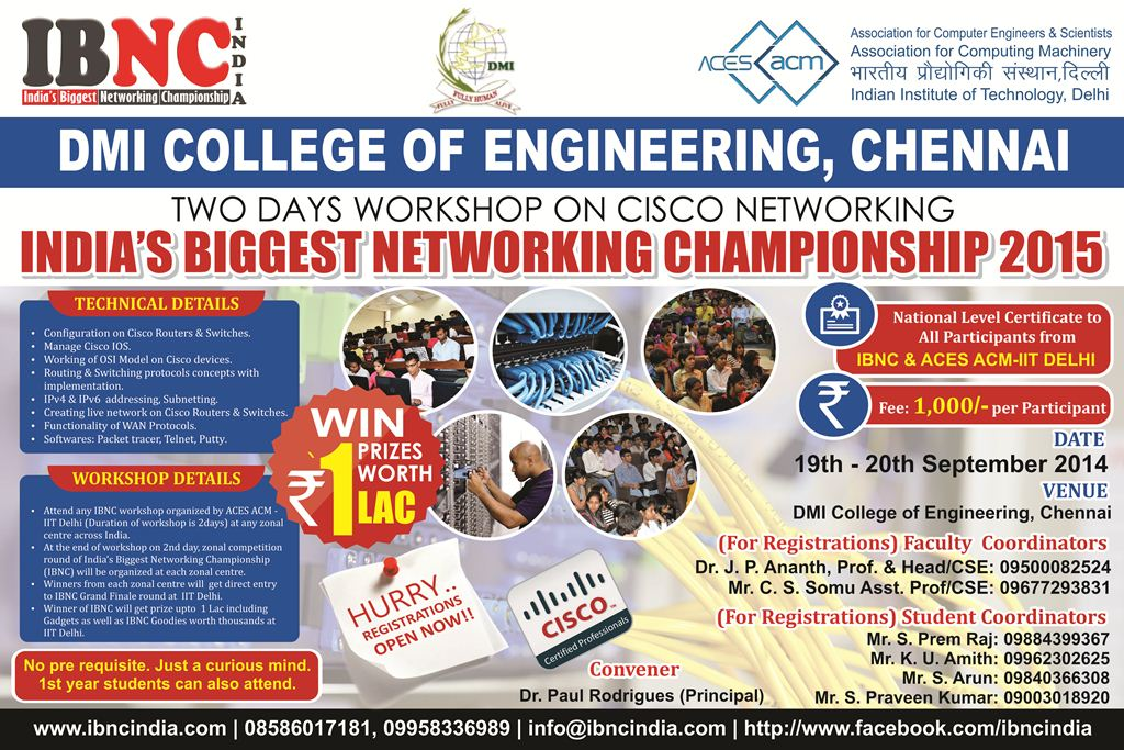 Two Day Cisco Networking Workshop at DMI Engineering College, Chennai
