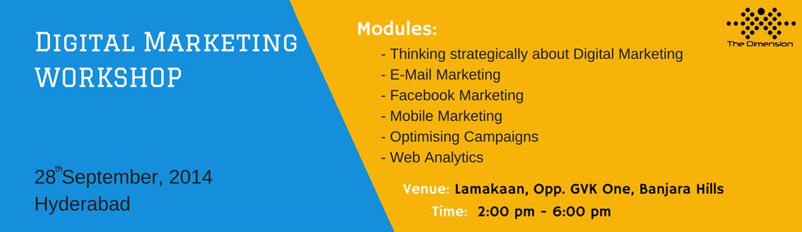 Book Online Tickets for Digital Marketing Workshop, Hyderabad. If you are looking at leveraging Social Media for Brand Promotion, Lead Generation and Customer Acquisition, you may not want to miss this case-study & strategy driven interactive workshop where live campaigns will be designed and implemented.