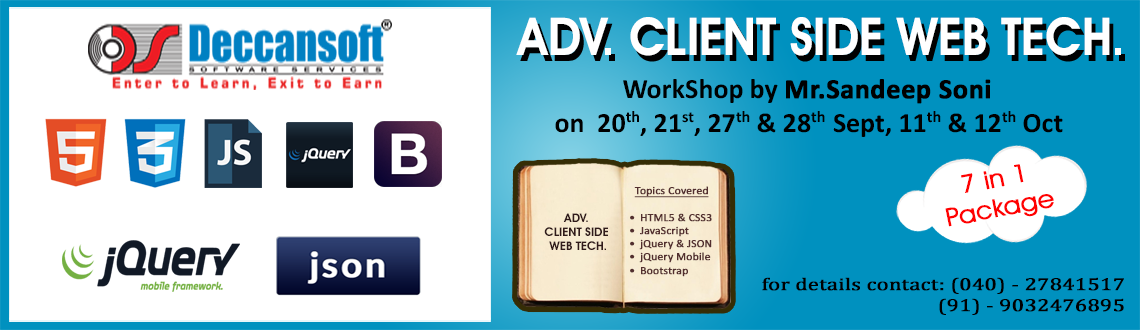 HTML5, CSS3, iQuery, AJAX, JSON, jQuery Mobile  Bootstrap Workshop