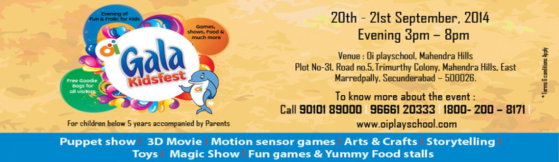 Book Online Tickets for Oi Gala Kids Fest, Hyderabad. Oi Playschool is conducting Oi Gala Kids Fest @ Mahendra Hills Centre with activities likePuppet Show3D MovieMotion Sensor gamesArts & CraftsStory TellingMagic ShowToysFun Games & Yummy Food StallsTo know more about this event call us :