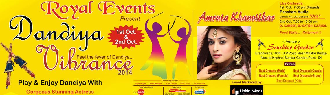 Royal Events presents Dandiya Vibrance 2014 on 1st and 2nd Oct at Srushtee Lawns,Mhatre Bridge