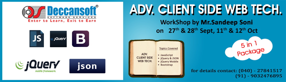 Javascript, jQuery, AJAX, JSON, jQuery Mobile  Bootstrap Workshop