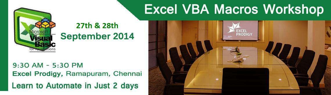 Book Online Tickets for Automate Excel using VBA Macro , Chennai. Excel VBA MacroAutomationin Chennai Be a Microsoft®Excel® Macro Expert in Just 2 days  Excel VBA Macrocourse concentrates on programming aspects of Excel IncludingRecorded Macros, Editor, Variables, Cust