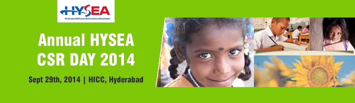 Book Online Tickets for Annual CSR Day of HYSEA, Hyderabad. It gives us great pleasure to announce the first ever Annual CSR Day of HYSEA (Hyderabad Software Enterprises Association – Formerly ITsAP) on 29th September, 2014 at HICC, Hyderabad. HYSEA CSR Forum which is organizing this event in Associatio