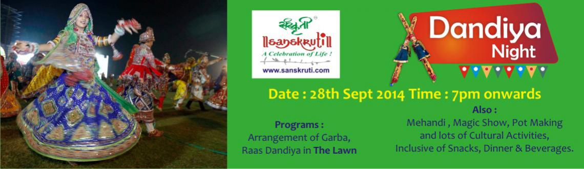 Book Online Tickets for Dandiya Night @ Sanskruti on 28th Sept., Pune. We are organizing Dandiya night for all our lovely customers to enjoy and spend great time in Sanskruti on28th of September\\\'2014. It will be a Dandiya event where we shall allow couples to enjoy the evening with each other.Celebrate life with us h