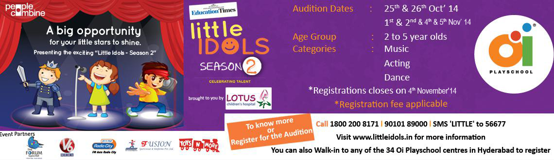 Book Online Tickets for LITTLE IDOLS Season 2, Hyderabad. Education Times in association with Lotus Children\\\'s Hospital and Oi Playschool presents \\\