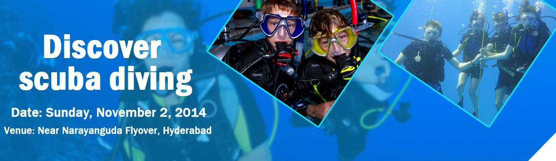 "Book Online Tickets for Discover Scuba Diving @ Hyderabad, Hyderabad. Discover Scuba Diving : PADI's most successful ""intro to scuba"" program- Pool Experience This is for Swimmers and non-swimmers Alike. pool diving gives the same thrill of being underwater and is for everyone above the age group"