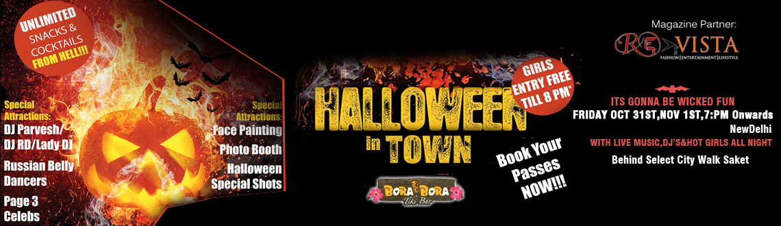 Book Online Tickets for Halloween in Town, NewDelhi. Empowered Mass Media presents Halloween in Town Magazine Partner Revista Magazine  We welcome you all to the Creepiest World of Ghosts and Witches, whispering in your ears, compelling you to attend the Biggest Halloween Party in Town.  Enjoy the best