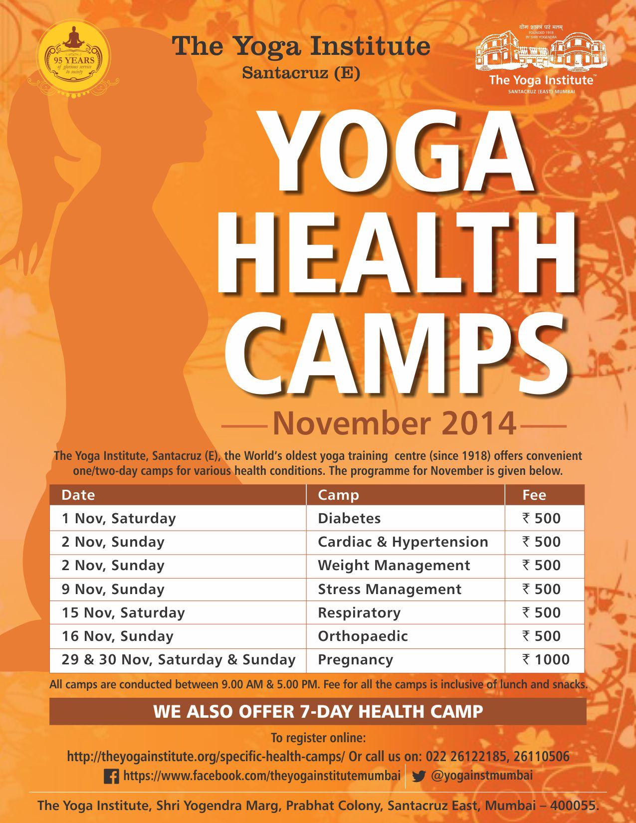 Book Online Tickets for Detox With Yoga Health Camps This Autumn, Mumbai. Pledge to good health this autumn and experience the magic of the ancient science of yoga. Let the pranic energy heal your mind, body and soul. Visit The Yoga Institute, Santacruz (E), this November for Yoga Health Camps designed to prevent, manage a