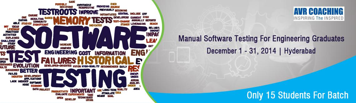 Book Online Tickets for Manual Software Testing, Hyderabad. Trainer's Profile:  Vishweshwar Rao Aakula Founder, Director AVR COACHING Unit Of Mangolya Edutech Pvt Ltd You can check his profile here in.linkedin.com/in/aakulavishweshwarrao/ FOR ANY QUERIES PLEASE FEEL FREE TO Cal