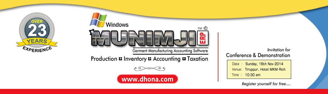 Conference  Demonstration of Munimji ERP Software (A complete Production cum Accounting Software for Garment and Inner Garment Manufacturer)