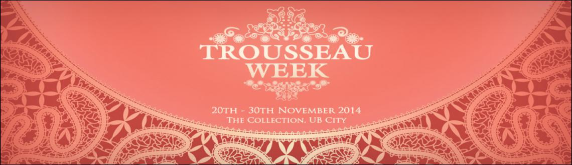 Book Online Tickets for Trousseau Week 2014, Bengaluru. Dreams, Wishes, Wedding & Style, four words that epitomize this event! Conceptualized & founded back in 2010, Trousseau Week has grown to be one of the most sought after wedding affairs in the country!Trousseau Week 2014\\\'s theme is 7 Steps