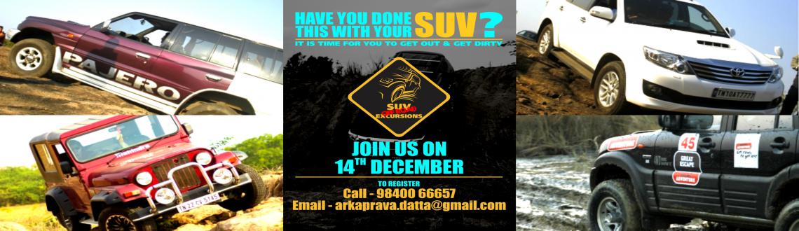 Book Online Tickets for SUV Off-Road Excursions DECEMBER, Mamallapur. 1 . Date: 13th December 2014: 9:00 am to 6:00 pm2. This is a non competitive off road event. The trail has been designed to give SUV owners the experience of handling their vehicles off road.13th December - SUVs/JEEPS/GYPSYs with 4x4 Low Range.3. Ope