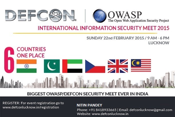 Book Online Tickets for DEFCON | OWASP Lucknow International Inf, Lucknow. DEF CON is one of the world\\'s largest annual hacker conventions. The Open Web Application Security Project (OWASP) is a worldwide organization focused on improving the security of web applications and softwares. OWASP community incl