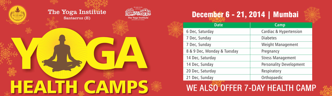 Book Online Tickets for Celebrate Christmas with Yoga, Mumbai. Ring jingle bells the yogic way this year. Refresh yourself with yoga and celebrate Christmas Eve the healthy way. Visit The Yoga Institute, Santacruz (E), this December for Yoga Health Camps designed to prevent, manage and cure various health condit