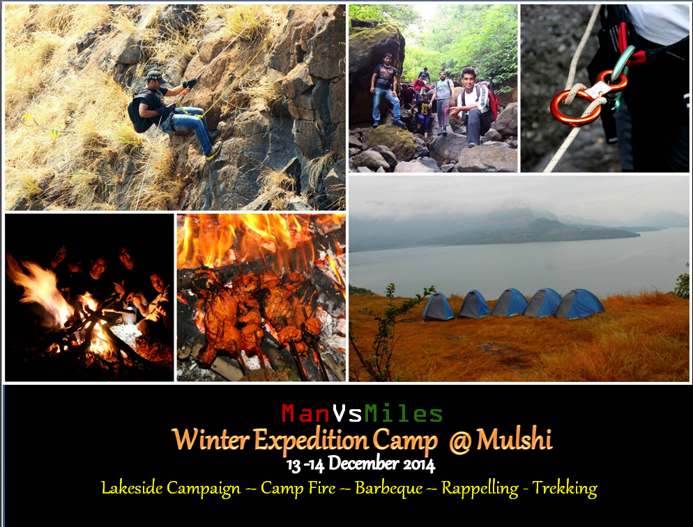 Book Online Tickets for Winter Expedition Camp at Mulshi , Pune. Man vs Miles, a reputed firm providing adventure tourism in pune city since last 5yrs, brings to you another one of our thrilling adventure campaign . We are conducting Camping ,trekking and Rappelling on the 13th and 14th Dec in the scenic locales o