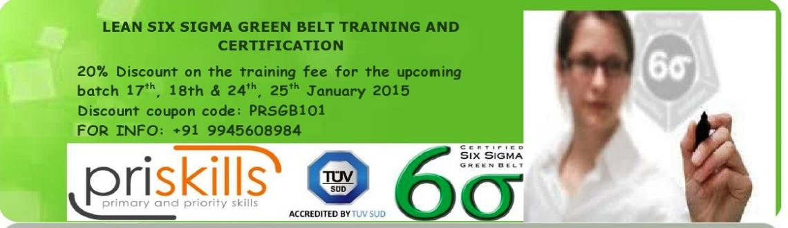 Book Online Tickets for Lean Six Sigma Green Belt Training  Cert, Bengaluru. Greetings fromPriskills!  Thank you for showing interest towards our Lean Six Sigma Green belt Training Program.  Since the past decade, industry has been experiencing tremendous changes in technology which is demanding every company,