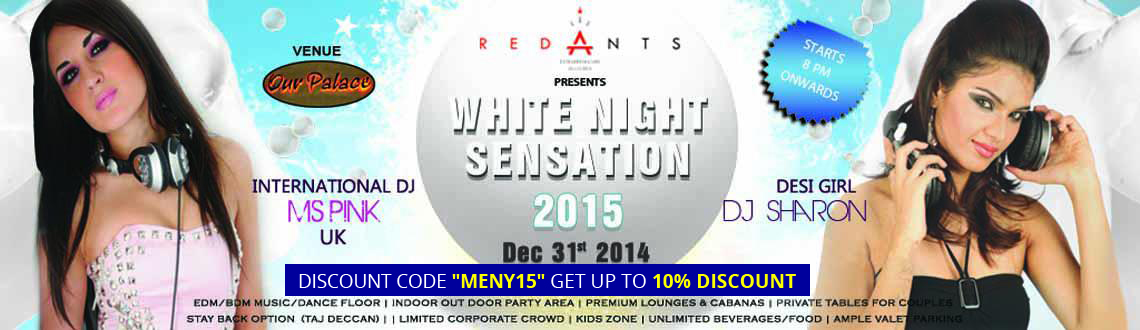 Book Online Tickets for White Night Sensation 2015, Hyderabad.  The WHITE NIGHT SENSATION is one of the popular themes for New Year\\\'s world wide.The theme White will start from the grand entrance and followed throughout the venue.The main stage with large led and intelligent lighting with the whi