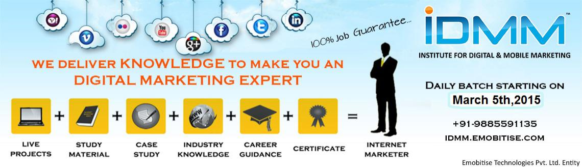 IDMM offers Digital Marketing Training with Placement Assistance.We offer training in SEO,SMO,SEM,SMM,Affiliate Marketing  E-Commerce
