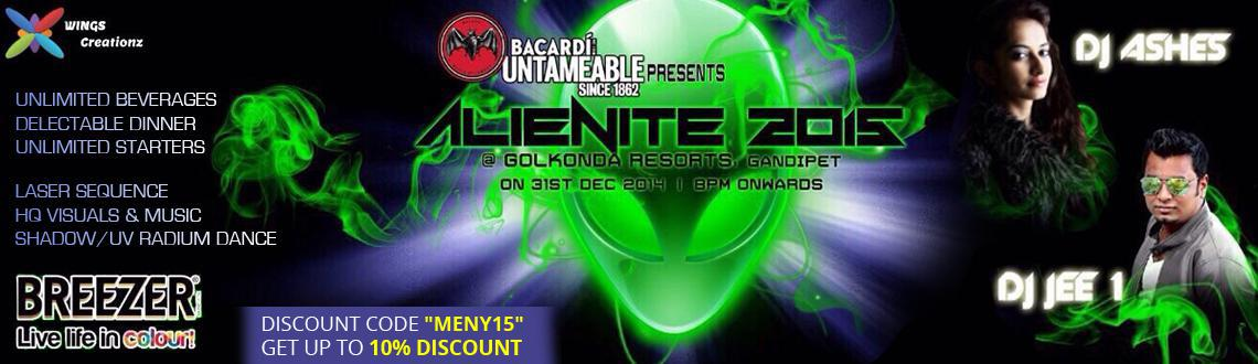 Book Online Tickets for AlieNite 2015 @ Golkonda Resorts, Hyderabad. AlieNite New Year Eve 2015 @ Golkonda Resorts  We bring you the most happenning new year 2015 party in Hyderabad at Golconda Resorts, Gandipet. Be a part of AlieNite 2015 and experience incredible hosiptality and entertainment. Be ensured to