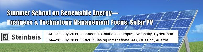 Summer School in Renewable Energy - Business & Technology Management, Focus-Solar PV Copy