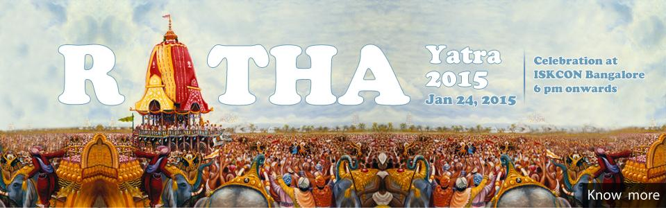 Book Online Tickets for Krishna Balarama Ratha Yatra 2015, Bengaluru. Iskcon Bangalore conducts Sri Sri Krishna Balarama Ratha Yatra annually in January. Thousands of devotees pull the chariot of Krishna Balarama through the streets of Bangalore amidst the soul stirring kirtanas. ComePullTheChariot.During the Ratha Yat