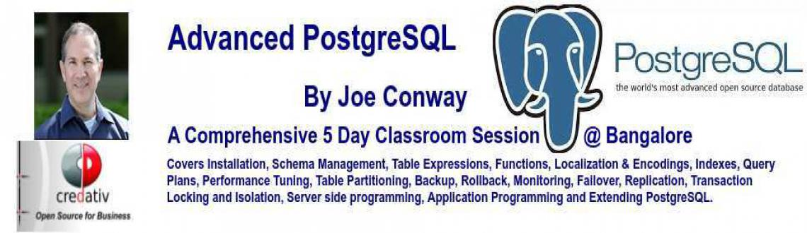 Book Online Tickets for Five Day Advanced PostgreSQL Training by, Bengaluru. PostgreSQL is the most advanced open source database. Increasingly companies/organizations around the world are entrusting their most critical data to PostgreSQL. There is a heavy demand supply gap for a good PostgreSQL professional. This training is