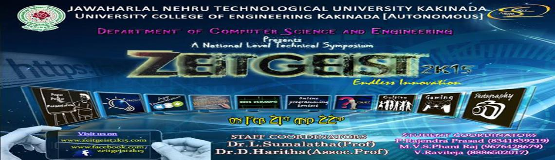 Book Online Tickets for Workshop Confirmation Fee, Kakinada. Zeitgeist is a 2 day national level technical symposium conducted by CSE department of JNTU KAKINADA on February 21st and 22nd of 2015.Android and Cloud Computing Workshop is held in collaboration with IBNC India and ACES ACM-IIT Delhi