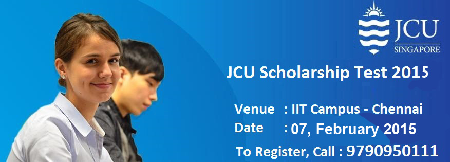 Book Online Tickets for JCU Scholarship Test 2015, Chennai. James Cook University, Singapore conducting Scholarship Test in India for past Six years. One of the successful event for James Cook University in terms of contributing towards Indian Society for deserved students. Scholarships offered ranged up to 5