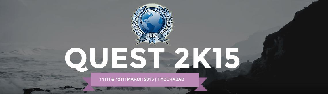 Book Online Tickets for QUEST 2k15, Hyderabad. Quest is one of the initiatives taken up by the Department of computer science and engineering, JNTU Hyderabad for nurturing and fostering students for the real world challenges. The fest is an initiative by department to guide students along the mos