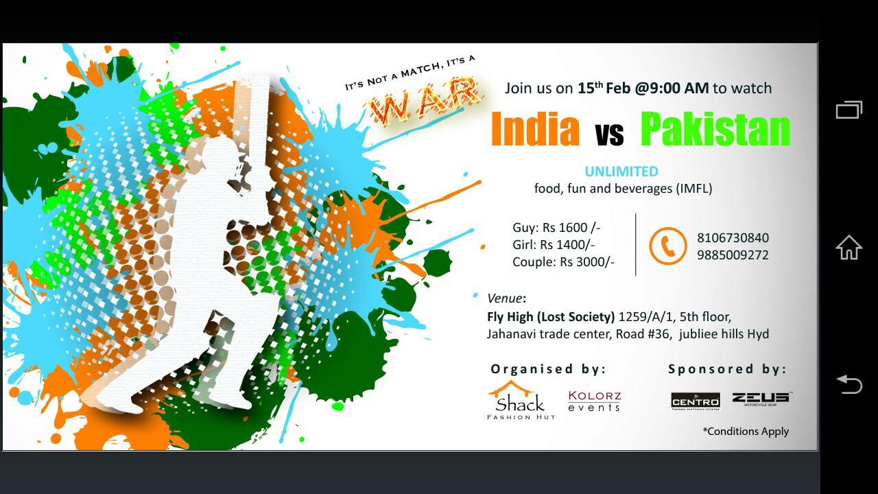 Book Online Tickets for India vs Pakistan World Cup match live s, . THE WAR IS HERE ! The biggest ever in Cricket history..