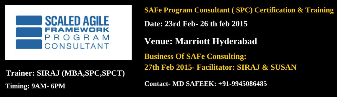 SAFe Program Consultant (SPC)-Hyderabad