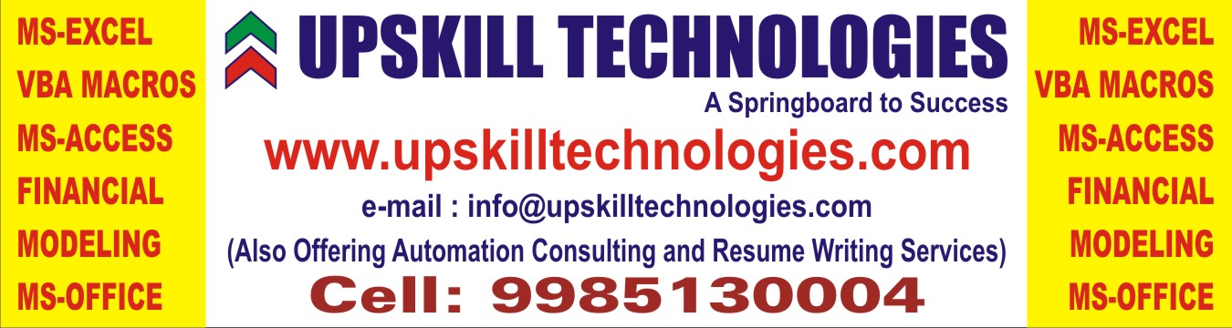 Book Online Tickets for 2 Day Workshop for Advance Excel and Das, Hyderabad. Upskill Technologies provides 2 day workshop for Advanced Excel and Dashboards.Mohd Arsalan has over 8 years of experience in providing corporate training MS-Excel in Hyderabad. Having trained more than 1000 students he has a great flavor for teachin