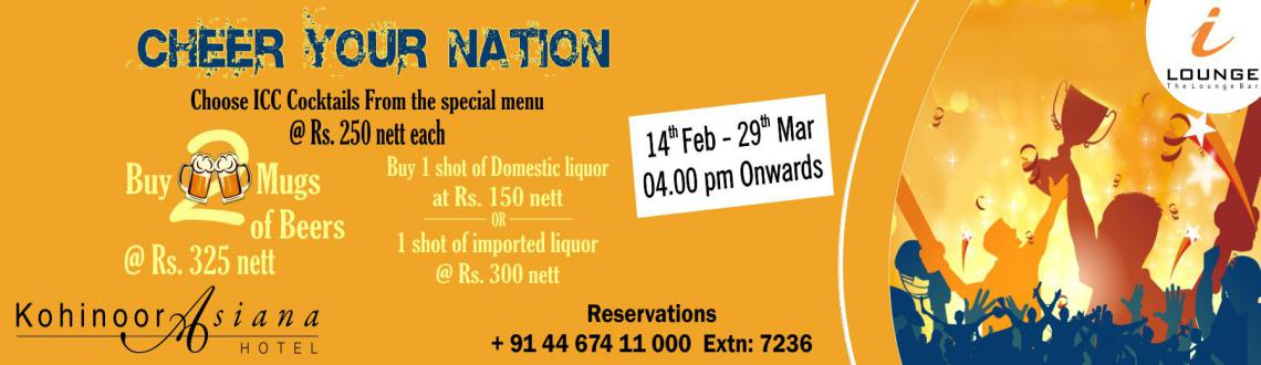 Book Online Tickets for ICC World Cup Promotions at i-Lounge, Chennai.  Cheer your nation and celebrate the spirit of Cricket at i-Lounge