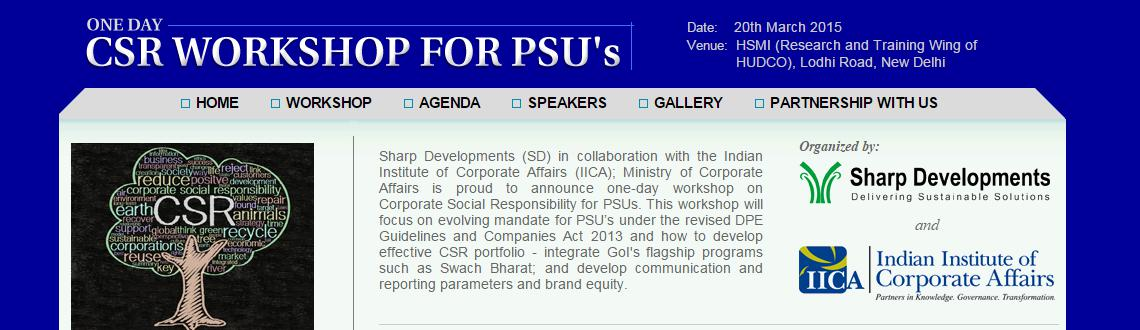 One Day Workshop on Corporate Social Responsibility for PSUs