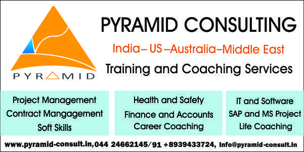 Book Online Tickets for Project Management Course (PMP), Chennai. PYRAMID CONSULT is an accredited learning center and leading training provider for ProfessionalManagement Training and Consultants in Project Management, Value Engineering, HR, IT, Cost,Accounts, Finance, Health & Safety Industries. PYRAMID Consu