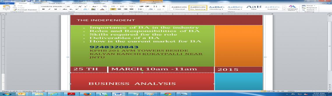 BUSINESS ANALYSIS JOB TRANING