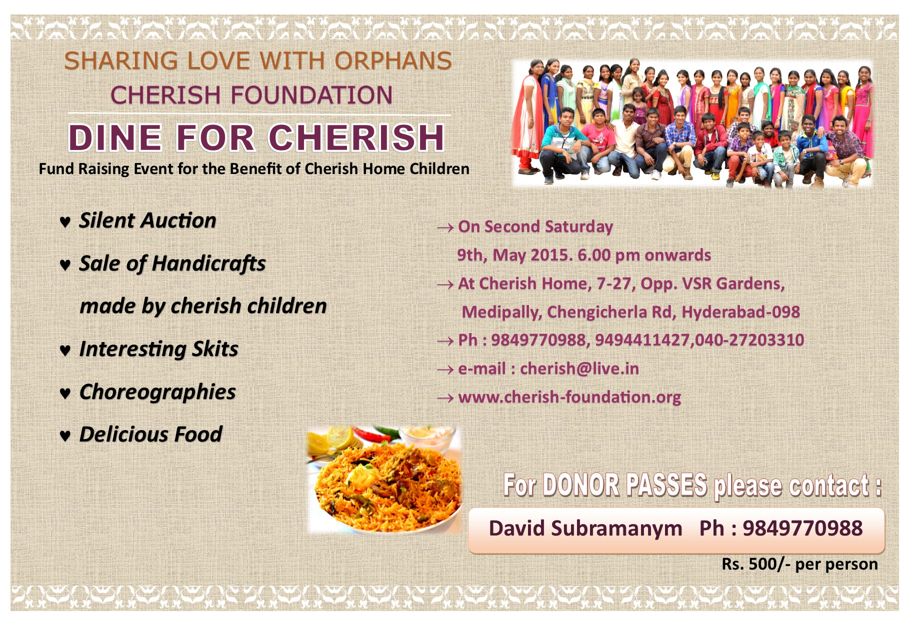 DINE FOR CHERISH (fund raising event for the benefit of cherish foundation orphanage children)
