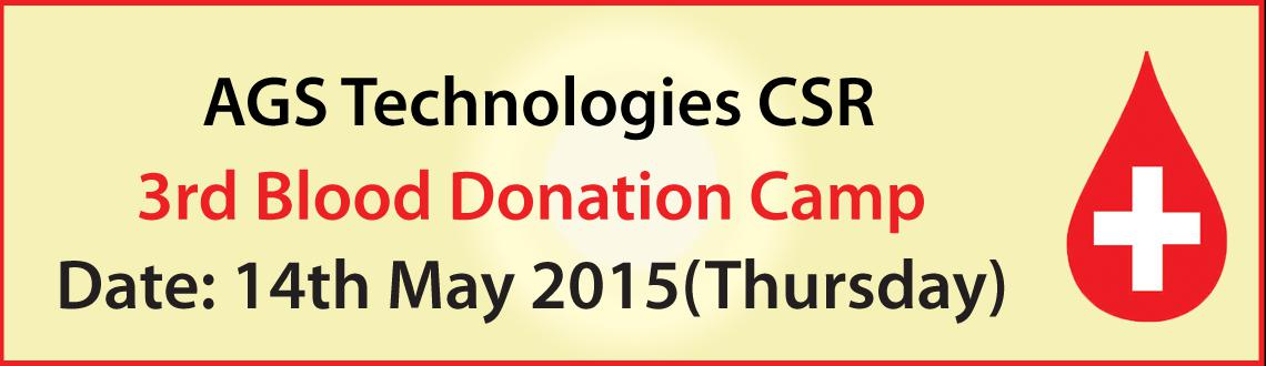 Book Online Tickets for AGS Technologies CSR 3rd Blood Donation , Pune. AGS Technologies, a leading Website, Mobile Application and E-commerce development company, is organising it\\'s 3rd Blood Donation Camp at it\\'s Pune office located in Pride Icon, Kharadi, Pune.