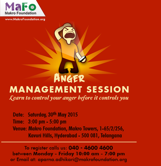 Orientation session on Anger Management at Makro training hall on 30th May 2015 at 2:30 pm.