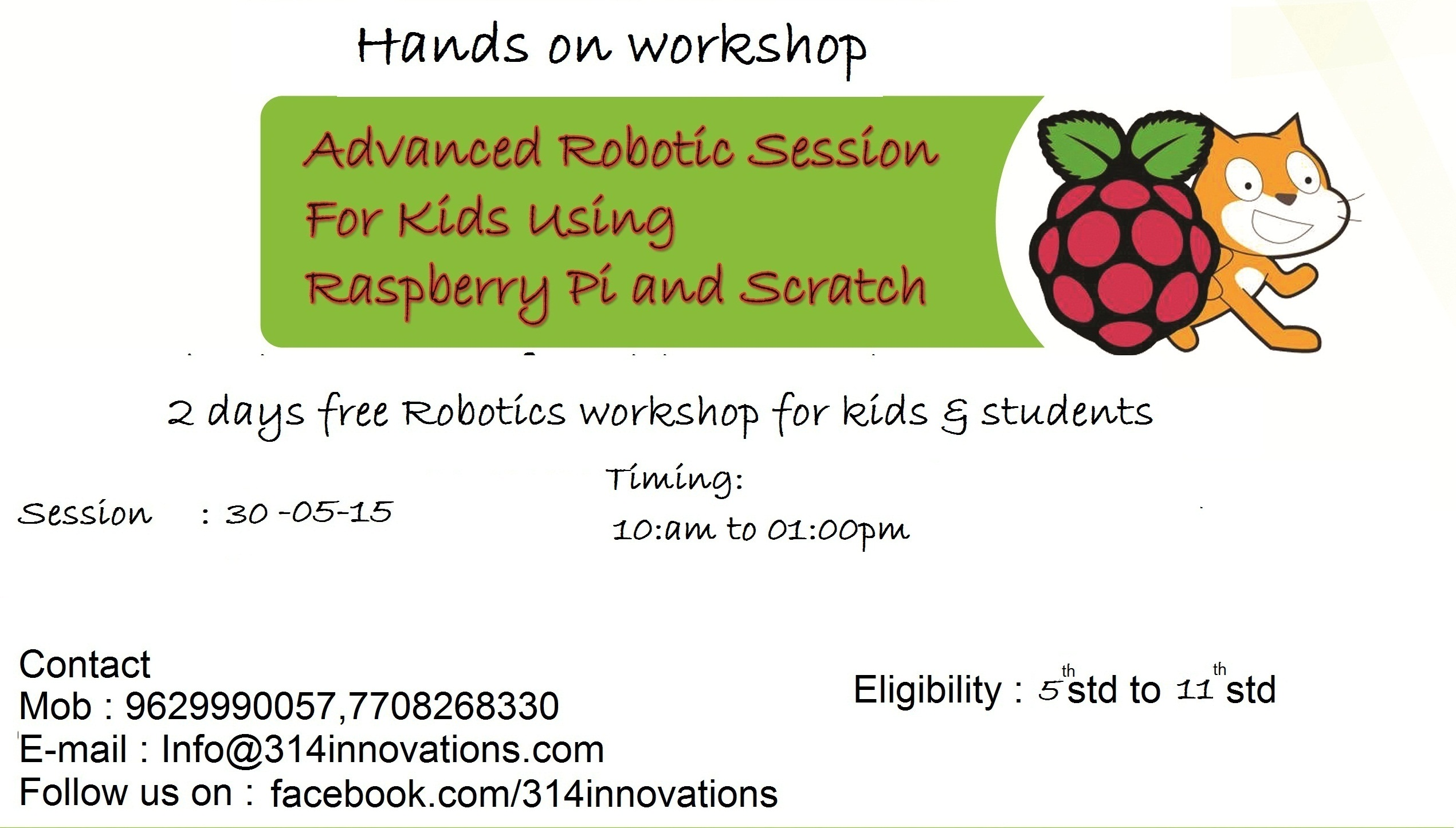 Free Robotics workshop for kids and students using raspberry pi and scratch with hands on experience Copy