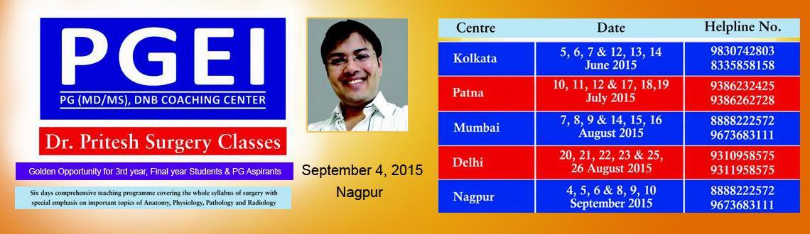 Book Online Tickets for PGEI Nagpur SURGERY Essance Lecture (6 D, Nagpur. PGEI presents, Surgery Essance by Dr. Pritesh